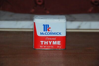 Vintage McCormick Ground Thyme Spice Tin Made in USA 1977