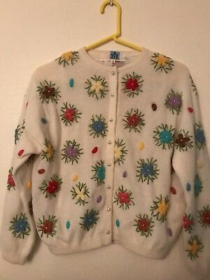 Vtg 1950's Lambs Wool & Angora Knit Flowers Size 38 M - L Gorgeous Unusual Mint