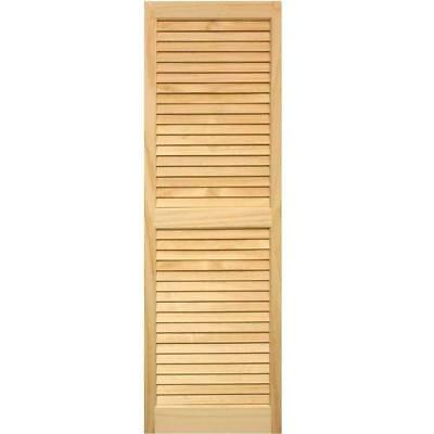 Exterior Louvered Shutters Pair Window Unfinished Unpainted Solid Pine Wood