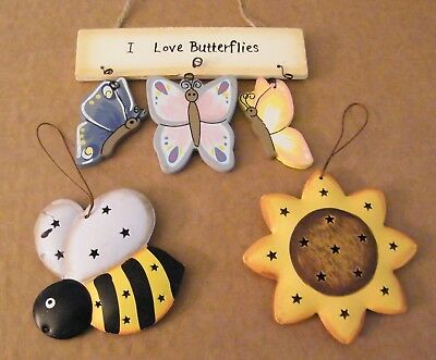 Reversible punched metal bee, sunflower, wood butterfies ornament decor Sign