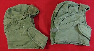 Lot Of 2 U.S. Army OD Green Cold Weather Cap/Helmet Liners - Size 6 3/4 - 1970