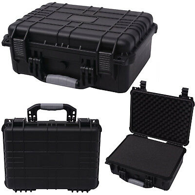Black Protective Equipment Case Camera Tool Carry Hard Box w/ 3 Removable Foam