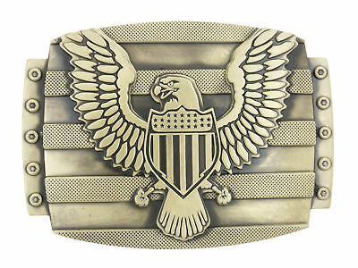 USA U.S. American Eagle Shield Flag Patriotic Bronzed Plated Metal Belt Buckle
