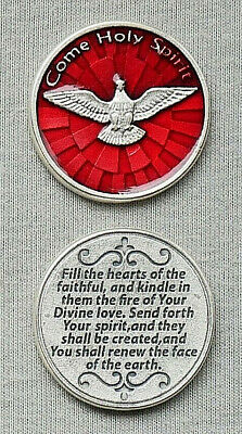 COME HOLY SPIRIT Pocket Token / Red Enameled - Italy-