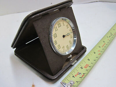 Antique Folding Travel Clock Swiss Made Movement Folding Stand Winding TESTED