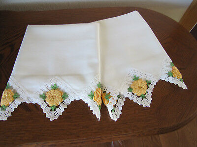 Vintage Pair Of Pillowcases All White & Crotcheted Yellow Cabbage Roses Wow