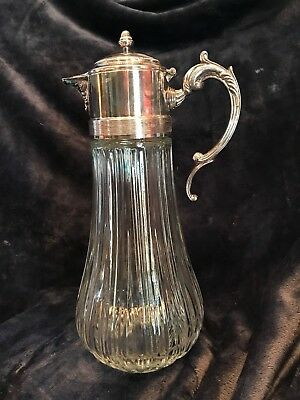 Vintage Italian Real Silver Plated Top and Glass Carafe / Pitcher