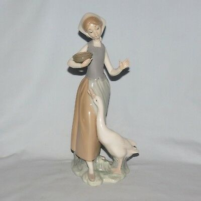 Lladro Handmade in Spain Girl with Basket and Duck figure