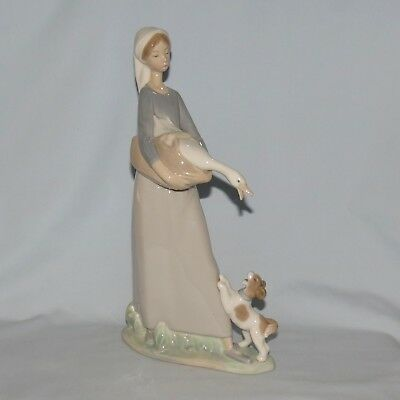 Lladro Handmade in Spain Girl with Goose and Dog figure