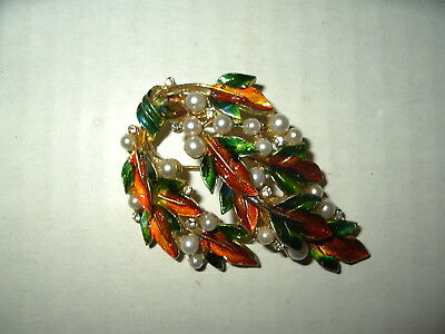 Vintage ART Goldtone Orange & Green Enamel & Pearl Autumn Leaves Brooch Pin