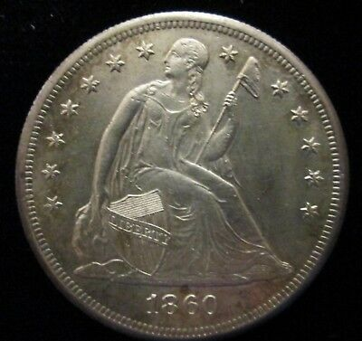 1860 - O ~ Seated Liberty Silver Dollar $1 New Orleans Mint Coin High Grade!