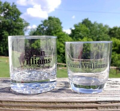 Set of 2 Evan Williams Bourbon Glasses Kentucky Whiskey Barware Advertising
