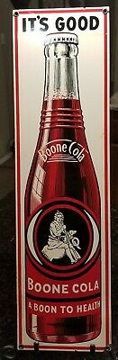 """Ande Rooney Boone Cola Porcelain Advertising Sign """"It's Good A Boon to Health"""""""