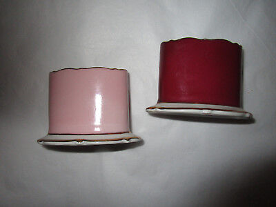 Vintage Royal Bayreuth ,germany ,pale Pink & Burgundy Tooth Pick Holders.