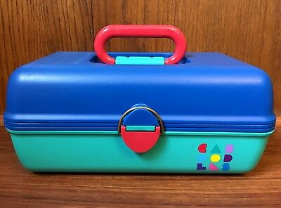 Vintage Caboodles Makeup Case Aqua Teal Blue Pink Cosmetic Organizer 80s 90s
