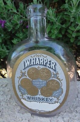 Antique Pumpkin Seed Flask With I.w. Harper Whiskey Commemorative Label