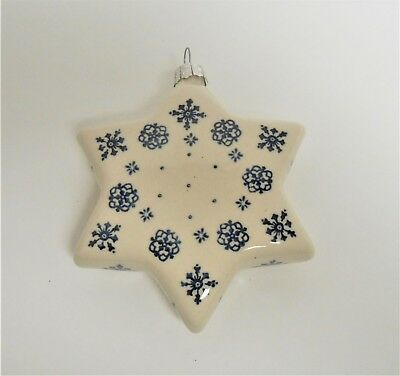 Boleslawiec Polish Pottery Large STAR Snow Flurries Pattern Christmas Ornament