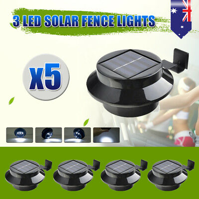 5pcs LED Solar Clip-on Fence Gutter Outdoor Garden Yard Pathway Lamp Light BLACK