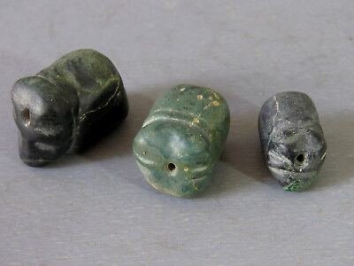 """Beautiful & Rare 3 Antique Animal Natural Stone Beads Cave infrom """"Elephant"""""""