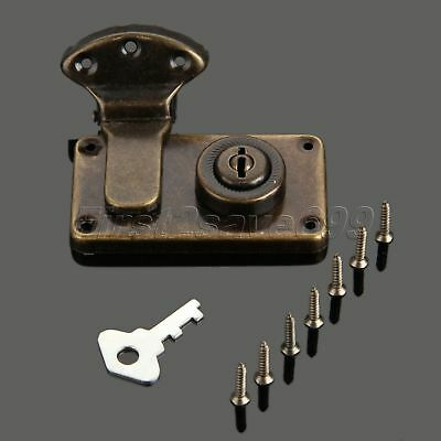 Antique Bronze Cabinet Drawer Cupboard Jewelry Box Latch Clasp Hasp & Lock Key