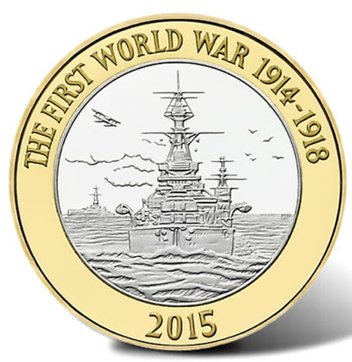 £2 Pound 2015 Royal Navy WW1 HMS Belfast  ,OUT OF MINT BANK BAG. NICE GIFT