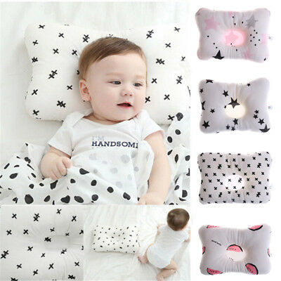 Newborn Infant Baby Pillow Prevent Anti Roll Flat Head Neck Cushion Pillows Tm