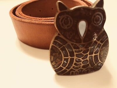 """Vintage *RARE* Leather Mosaic Owl Belt LUCKY BRAND XS 28"""" Lenght"""