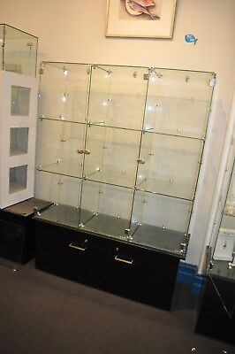 3 Lockable Glass Cube Retail Display Units, 2 with Lockable Storage Bases