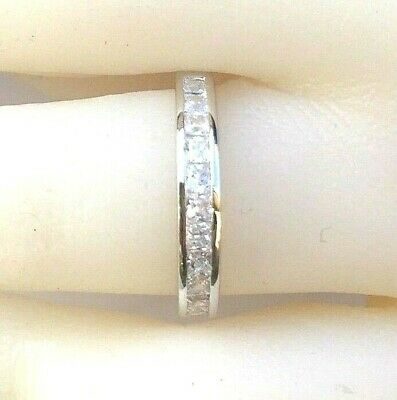 matching band: channel setting ring, 925 silver princess simulated diamond ring