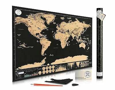 """Scratch Off Map of the World for Travelers Deluxe Gift Edition Large 32""""x 23"""""""