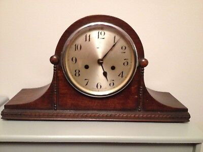Vintage wooden cased mantel Napoleon hat clock with key. Not working