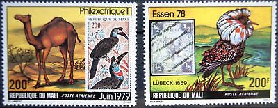 MALI 1979 680-81 C356-57 PHILEXAFRIQUE ESSEN 79 Kamel Camel Birds Vögel MNH