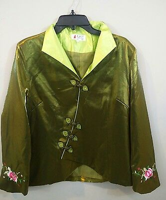 Laogudai Womens 40 Asian Chinese Embroidery Lime Green Jacket No Material Tag