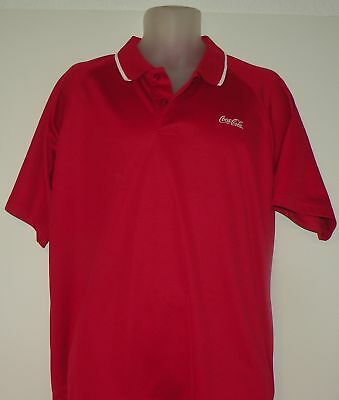 Coca Cola Xl Golf Shirt Polo Mens Short Sleeve Red White Polyester