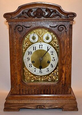 German Junghans Oak Cased Westminster Chime 8 Day Mantel Clock 1909