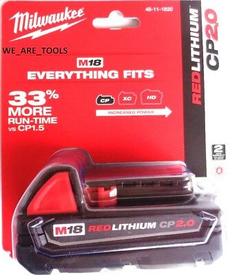 NEW IN PACK GENUINE 18V Milwaukee 48-11-1820 2.0 Compact BATTERY M18 18 Volt