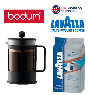 Bodum Coffee Press {Cafetiere } 3 Cup Black & Discounted Lavazza Offers.
