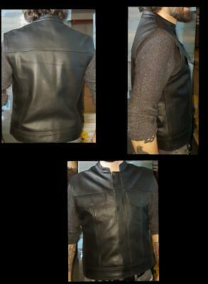 BlackTab Revolver Vest Motorcycle CowHide Strong &Very Best Quality Leather Cut