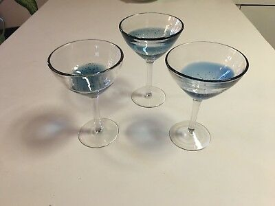 Martini Glasses - Thick Blue Bowl With Bubbles  & Clear Stem -  3 Total