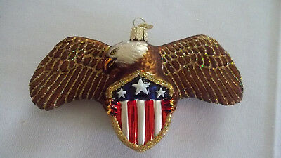 Old World Christmas American Eagle on Shield Glass Ornament