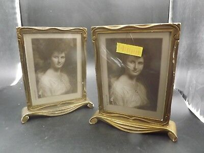 Antique Pair Of Photo Frames Gilt And Carved Wood American Art Nouveau 1910?