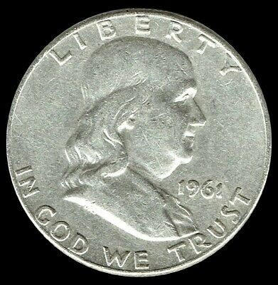 "A 1961 D Franklin Half Dollar 90% SILVER US Mint ""Average Circulation"""