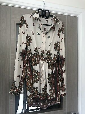 2202d17888c Missguided Shirt Style Paisley Printed Holiday Playsuit Romper Size UK 8