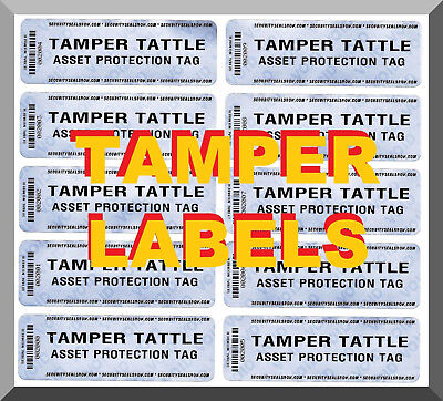"TAMPER TATTLE SECURITY SEALS / LABELS: 10 LARGE 3""x1"" HIGH-RESIDUE MATTE-SILVER"