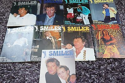 Rod Stewart A Collection Of 9 Smiler Fan Club Magazines Excellent Condition