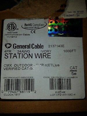 CAT 5E General Cable 4 pr 24 awg CMX outdoor by the 10 FOOT