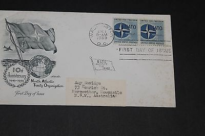 Usa 1959 Illustrated North Alantic Treaty Ann Issues First Day Cover To Aust