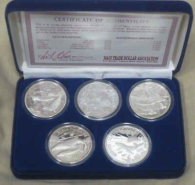 "Rare COMPLETE ""Series 3"" 2002-2006 MAUI TRADE DOLLARS - 5 Coin Set .999 SILVER"