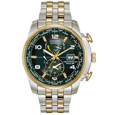 Citizen Men's Eco-Drive World Time Watch Two Tone Gold Steel Blue AT9014-51L