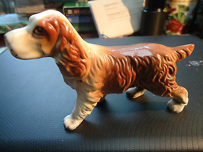 VINTAGE CERAMIC BROWN & WHITE SPRINGER SPANIEL DOG FIGURINE Japan